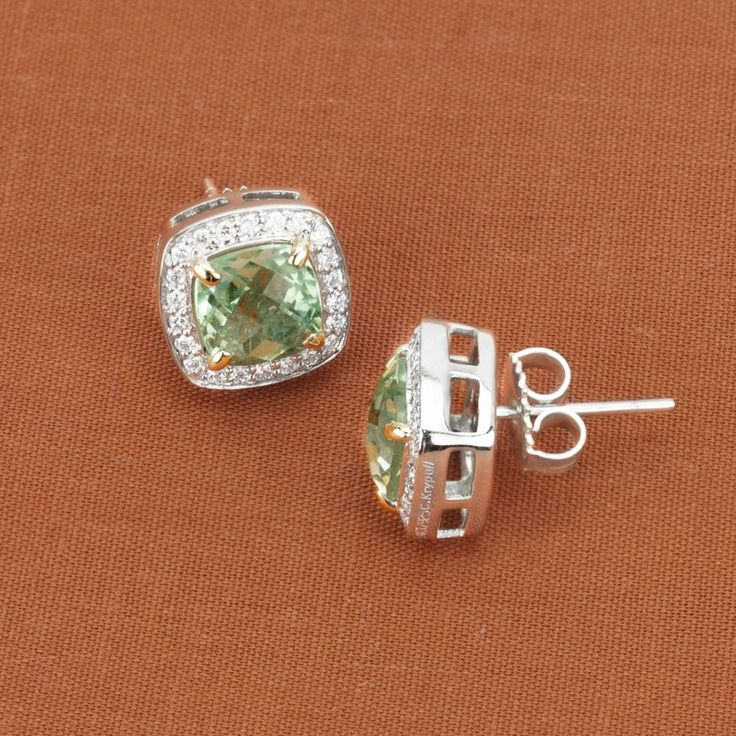 Charles Krypell Sterling Silver & 14K Yellow Gold Green Amethyst & Diamond Earrings - $805.00