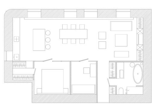 Black and White Apartment,Floor Plan