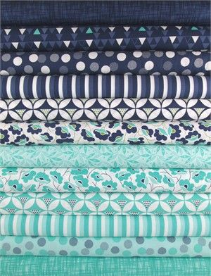V & Co., Color Theory, Blue/Green in FAT QUARTERS 12 Total