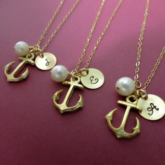 Three Bridesmaids Necklaces Nautical Wedding Theme by lizix26, $90.00