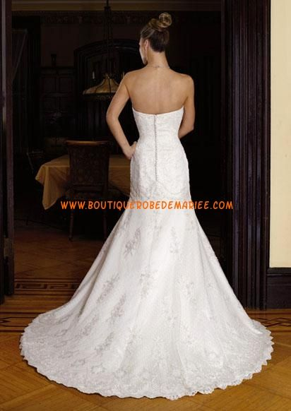 Robe de mariée sirène en dentelle avec bustier