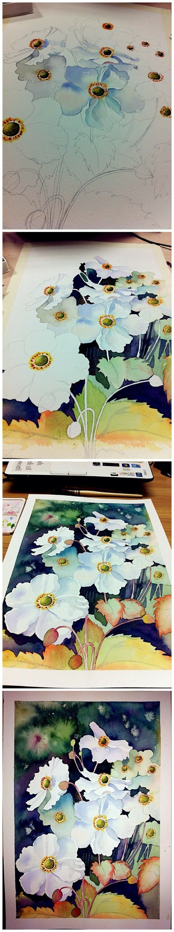 Watercolor illustrations step by step. This is so beautiful.