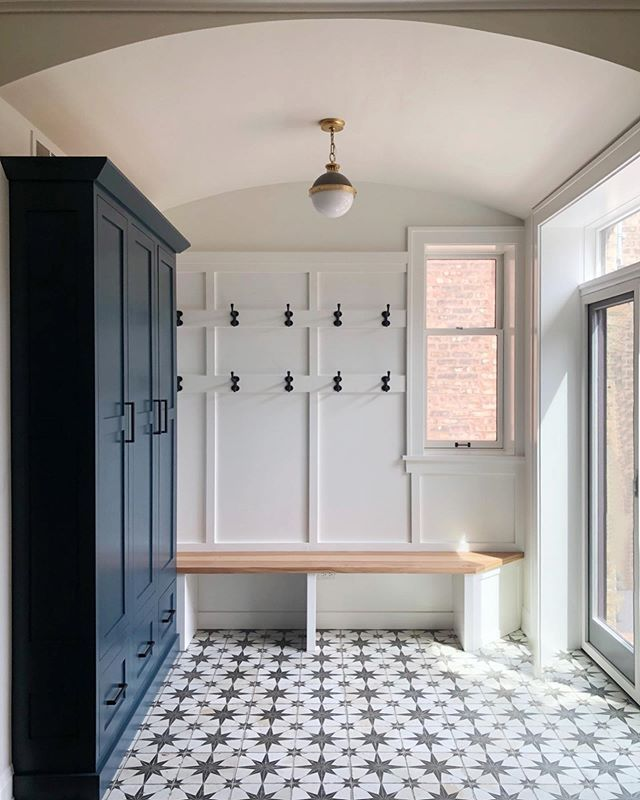 Mudroom Nautical Cementtile Mudroom Design Inspiration Navy Cabinets And Antique Black Metal Hook Laundry Room Tile Laundry Room Flooring Mudroom Flooring
