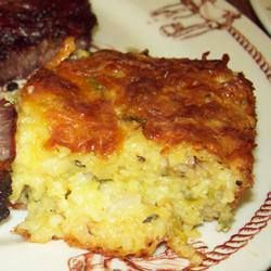 Zucchini Cornbread Casserole  INGREDIENTS: 4 cups shredded zucchini 1 onion, chopped 2 eggs, beaten 1 (8.5 ounce) package dry corn muffin mi...