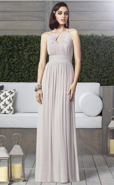 Silver Chiffon A-line Straps Floor-length Bridesmaid Dresses
