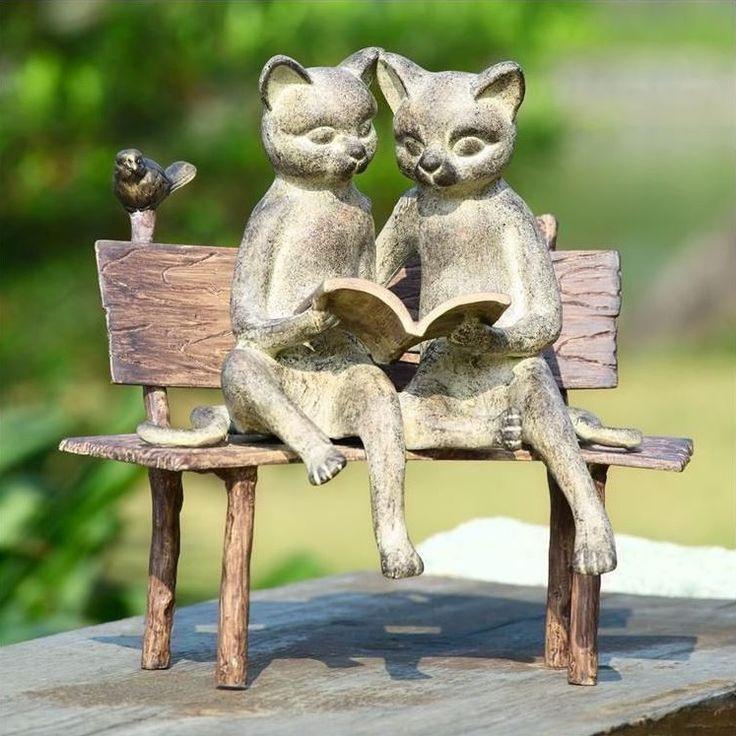 Cat Sculpture | Reading on Bench | SPI