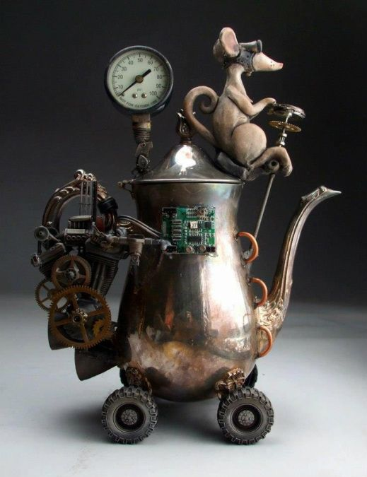 "Steampunk Mouse. Reminds me of that scientist mouse on The Secret of Nimh. Or the ""secret weapon"" in An American Tale."