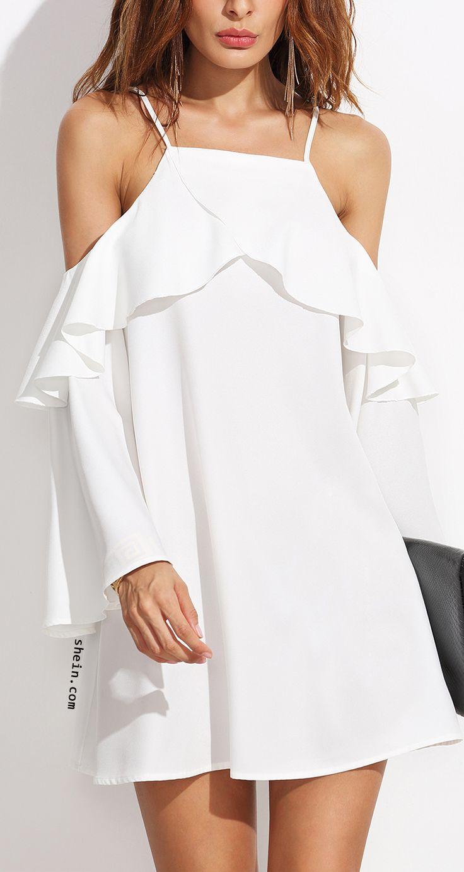 Shop ruffle trim cold shoulder dress at SHEIN.