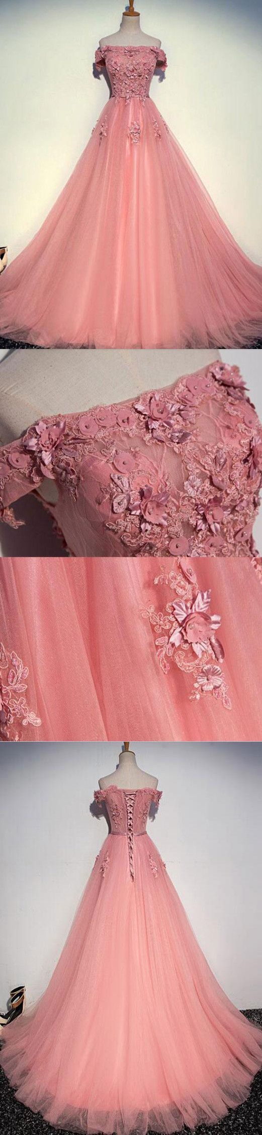A-line Off-the-shoulder Sweep/Brush Train Short Tulle Prom Dress/Evening Dress # VB985 #fashion #long #prom #popular #A-line #evening #Appliques