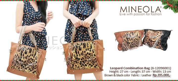 #myMINEOLA December New Arrival!  Leopard Combination Bag (6-12096001)  Price: Rp.395.000,- Color: Brown, Black  Measurement: Height: 27cm - Length: 37cm - Width: 13cm   Material: Leather