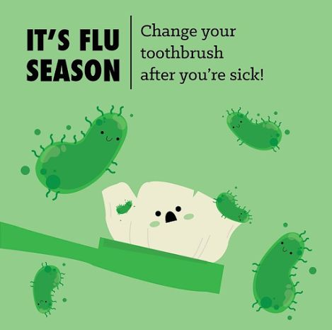 It is #flu season so please remember to change your toothbrush after you're sick because old germs can linger on your brush and re-infect you with the flu.   ‪