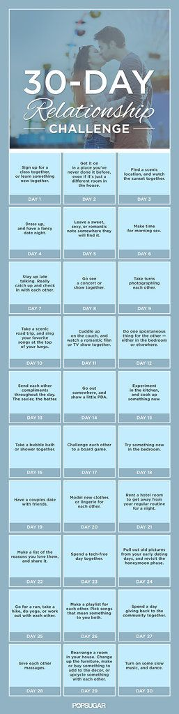 Spice Up Your Relationship With This 30-Day Challenge - the link might not be working, but you can squint just right to read the daily blurbs...