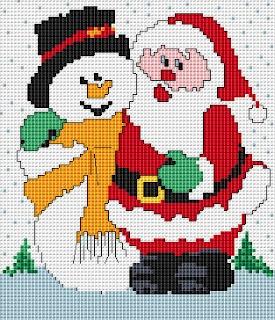 Free Cross Stitch Patterns: Santa and Snowman