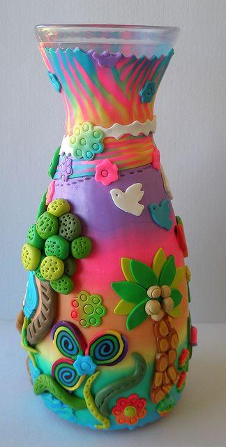 jarron decorado en porcelana fria fimo