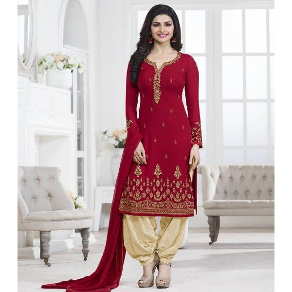 Prachi Desai Georgette Red Embroidered Semi Stitched Patiala Style Suit - RF694