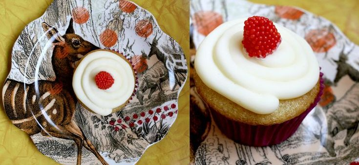 vanilla cupcakes with raspberry filling. i made these and they were AWESOME. plus the filling is only 2 ingredients and the raspberry can easily be swapped for pretty much any other flavor.