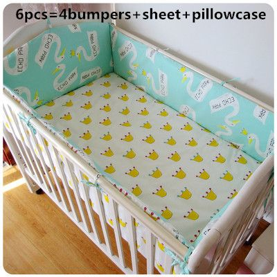 Promotion! 6PCS Bear Bedding Set For Baby, Baby Crib Set Unpick,Baby Bumpers Crib Sheet (bumper+sheet+pillow cover)
