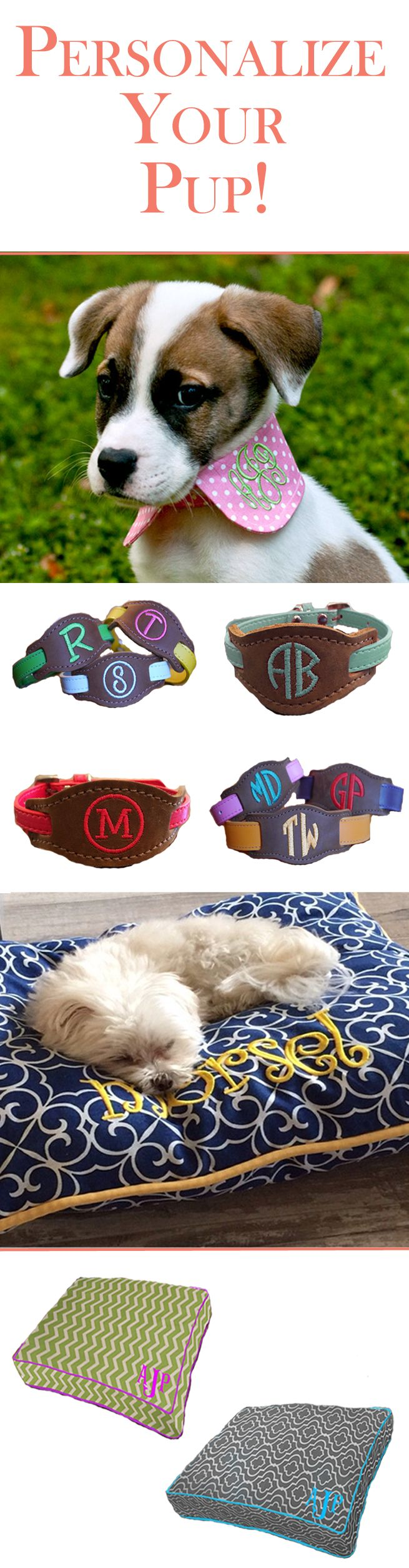 Bring a personal touch to your dog's accessories with our curated collection of monogrammed dog fashion! Browse designer dog beds, crate covers and collars are with an extra special monogram design!