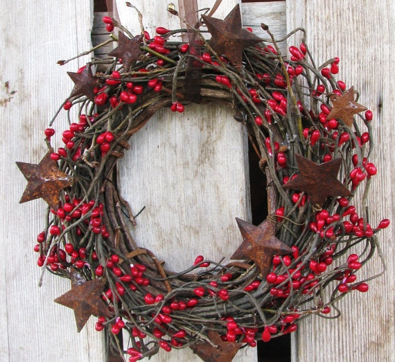 .grape vine wreath with red berries