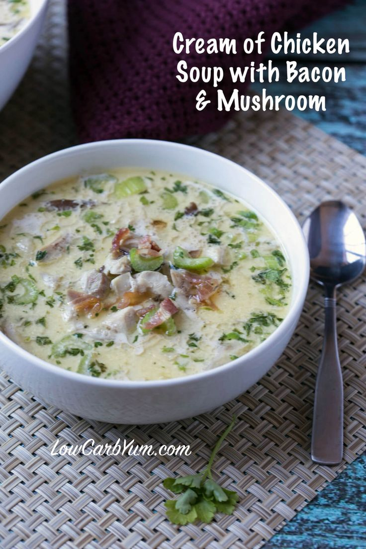 Warm up with some delicious low carb cream of chicken soup with bacon and mushrooms. It's sure to take the chill out on a cool fall or winter day and satisfy hunger. LCHF Gluten Free Keto Banting Recipe