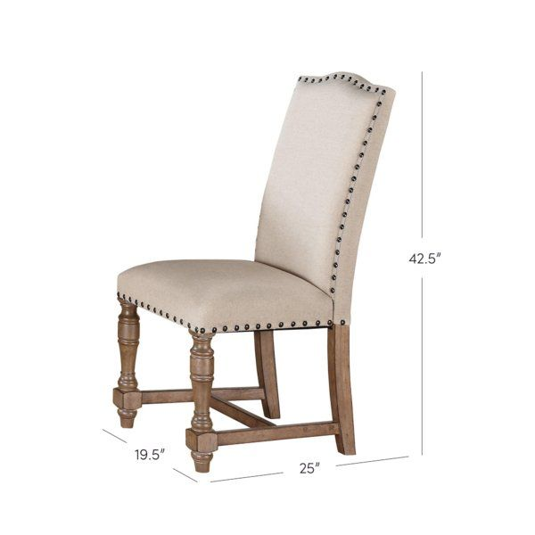 Fortunat Cotton Upholstered Dining Chair In Oatmeal Upholstered