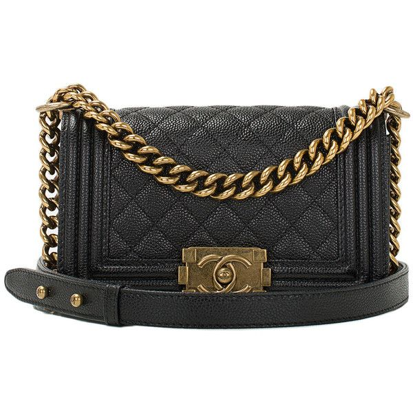 Pre-owned Chanel Black Quilted Caviar Small Boy Bag Gold Hardware ($5,450) ❤ liked on Polyvore featuring bags, handbags, chanel, purses, torebki, handbags and purses, leather cross body handbags, leather handbags, hand bags and leather crossbody handbags
