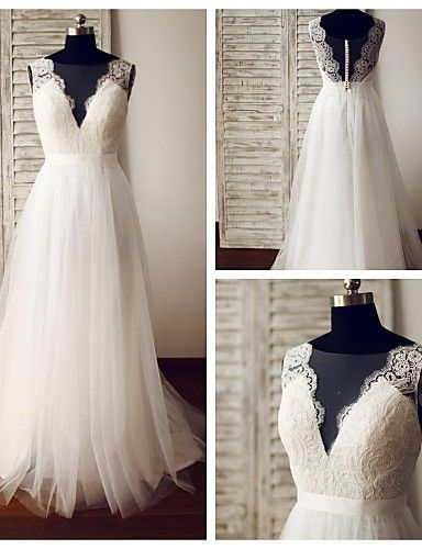 A-line Wedding Dress - Glamorous & Dramatic See-Through Wedding Dresses Sweep / Brush Train V-neck Lace / Tulle with Button / Lace 2016 - $139.99