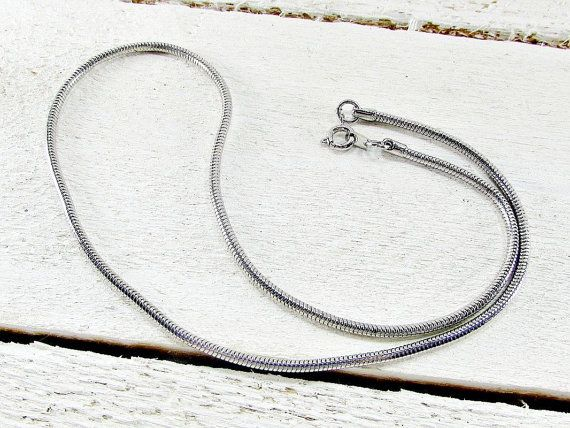 Vintage Mens Silver Chain Necklace, Snake Chain Necklace, Unique Cool Mens Jewelry, 1970s 1980s Mens Vintage Jewelry, Gift for Boyfriend by RedGarnetVintage