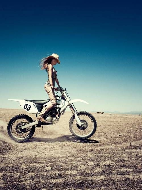 Brunette Babe In Cowboy Boots And Hat On A Dirtbike -8377