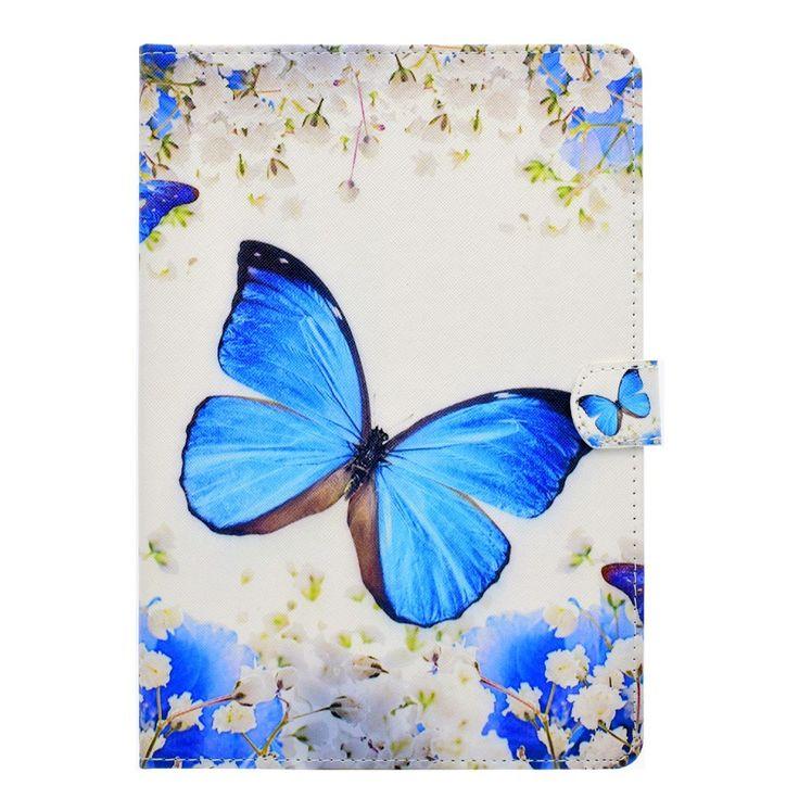 Housse iPad Pro 10.5 - Papillon Bleu et Fleurs Blanches