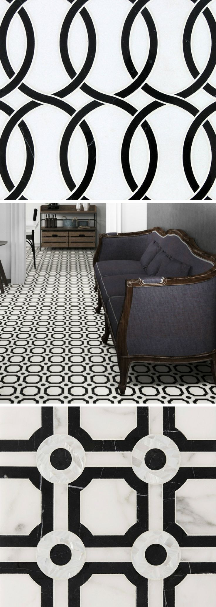 Black and white mosaic tile / inspired by the Art Nouveau movement, our Belle Epoque collection perfectly marries contrast and shape. See it all on our website
