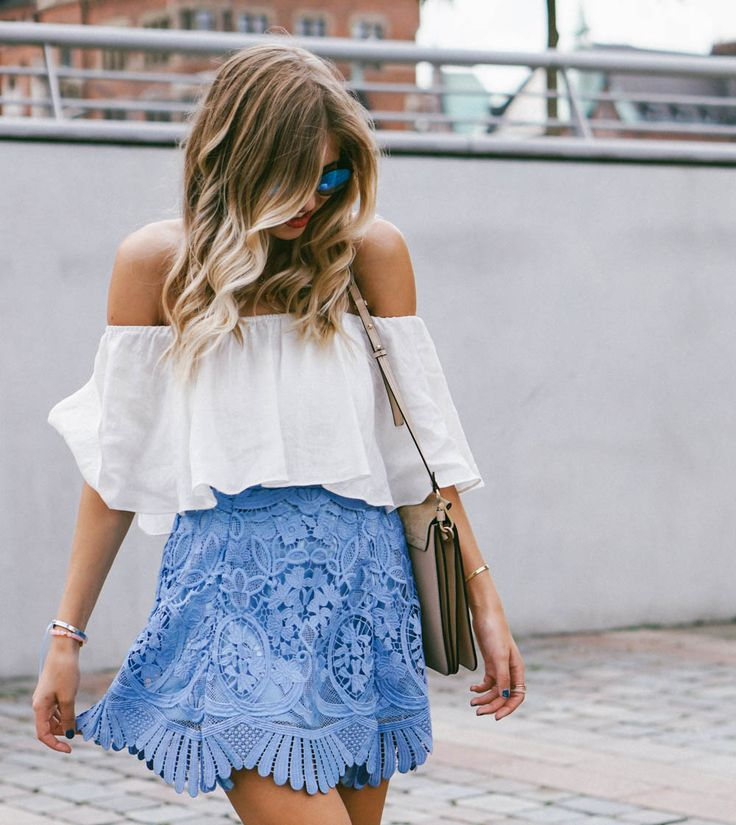 light blue floral skirt