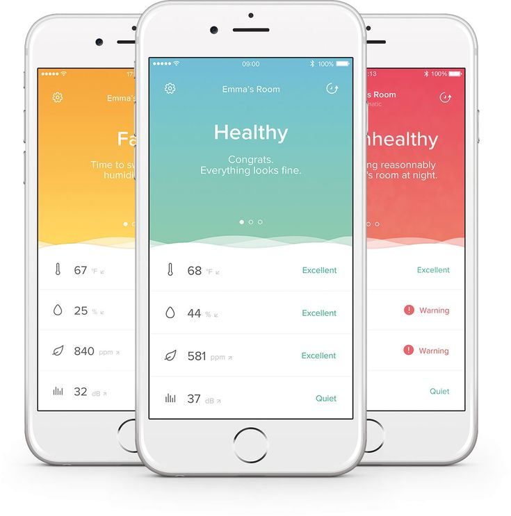 Die App des Netatmo Healthy Home Coach verrät mit Farben, wie es um das Klima Ihres Zuhauses steht.