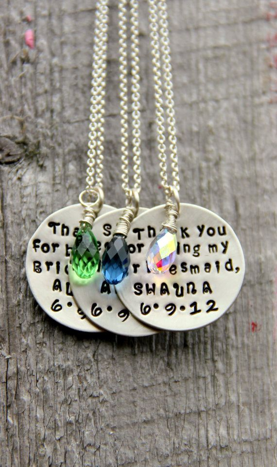 Bridesmaids Gifts, THREE Personalized Design Your Own Necklaces, Personalized Wedding Gifts, Wedding, Gift Flower Girl via Etsy