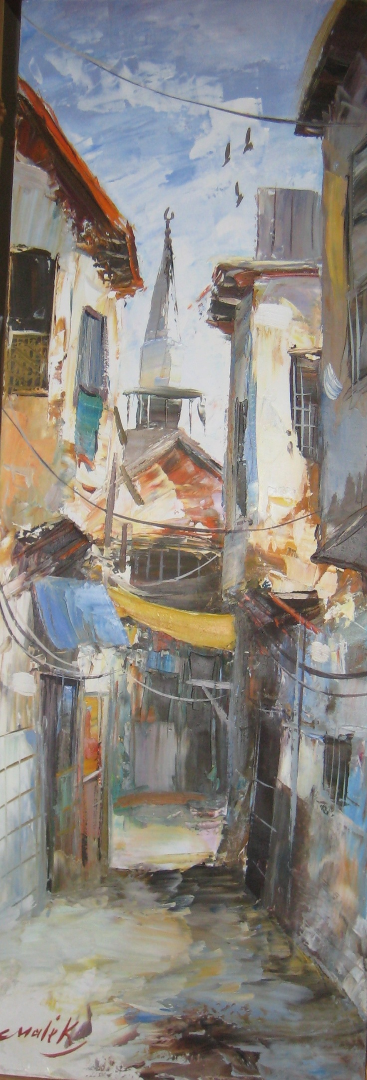 A Painting of an old street in Damascus Syria