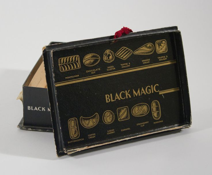 'Black Magic Chocolates' were my mum's favorites.Sadly she's diabetic now. Launched in 1938 as an affordable alternative to the costly chocolate boxes of the time.In the 1950s & '60s they were inextricably linked w/ rituals of courtship.(must be why she likes them) Made by Rowntree's which was founded in York in 1862 & bought by Nestle in 1988.In 2009 nestle brought back the original old favorite recipes due to popular demand. Nestle had come out with a continental truffle collection in the…