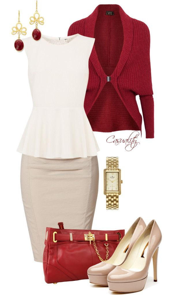 """White Peplum Top, Pencil Skirt, & Red Clutch"" by casuality on Polyvore"