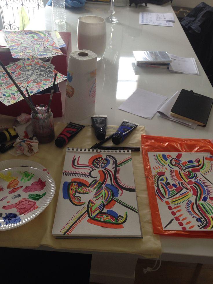 Work in progress  #lesballetgirls #alexandrinecomte #danseclassique #peinture #supernanas #couleurs #femmes