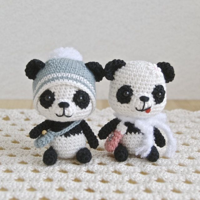 Crochet tiny Panda Bears. There is no pattern but the link has pics from different angles for inspiration.