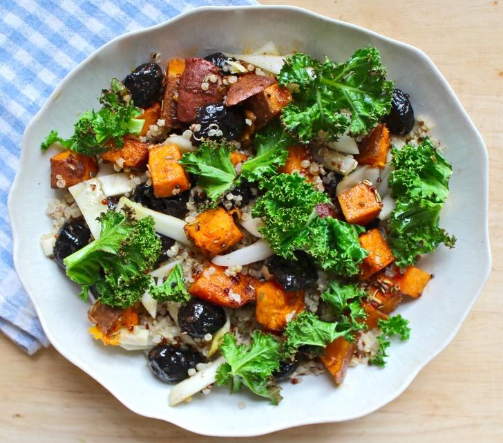 sweet potato, fennel & olive salad with crispy kale ...