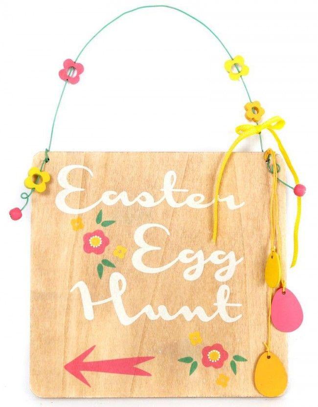 Easter Egg Hunt Wooden Plaque Decoration - 22Cm X 21Cm Hanging Decorative Display Sign