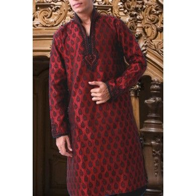 Made with Jacquard fabric, this stylishly designed high neck #maroon #kurta is all set to create the atmosphere hot with your look. Buy online at www.ethnickurtas.com