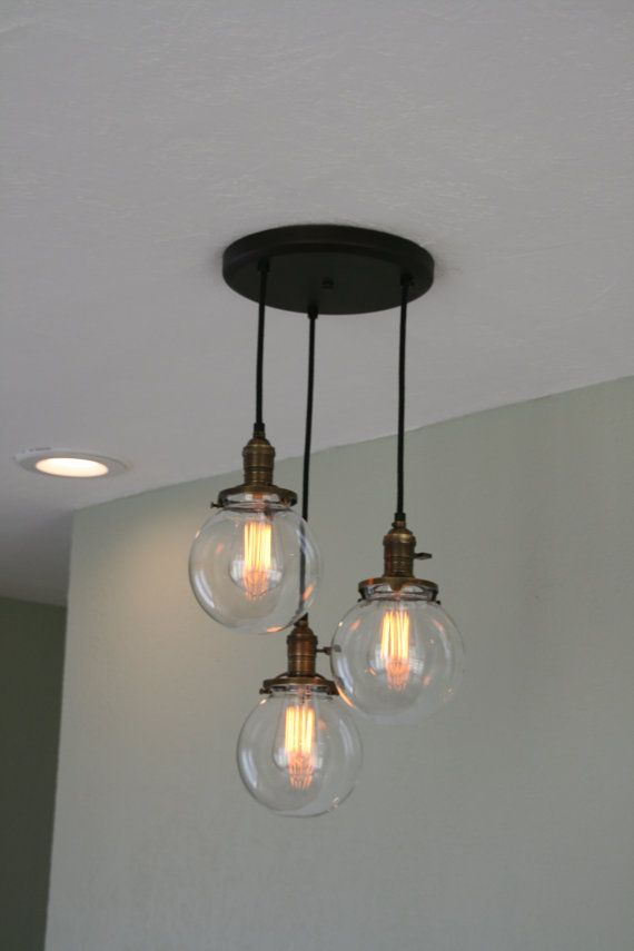 "Hallway or kitchen  Chandelier Light   - 3Strands  6"" Glass Globe Chandelier on 10"" Oil Rubbed Bronze Canopy with Edison Bulbs Optional"
