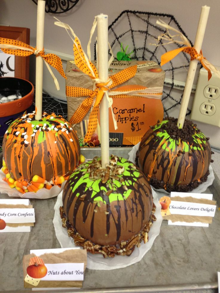 Caramel apple pumpkins i made for the pumpkin decorating for Apple decoration ideas