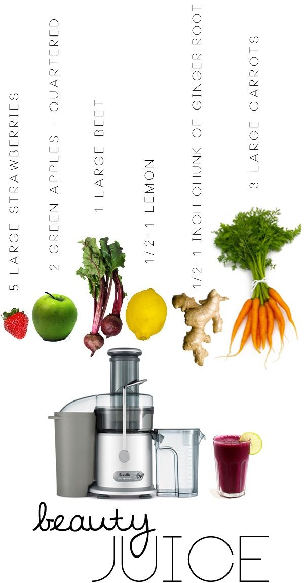 Beauty Juice for Hair, Skin and Nails What you Need: 5 large strawberries 2 green apples 1 large beet 1/2 or whole lemon (to taste) 1/2 inch chunk of ginger root 3 large carrots