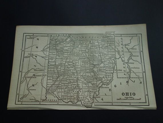 160 year old state map of Ohio  original 1854 by DecorativePrints
