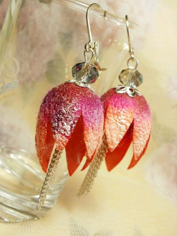 Natural silk cocoons Silk Cocoon Earrings by NellanyArt on Etsy