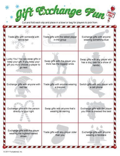 Christmas Gift Exchange Game... For my Sunday school class party. - 30 Christmas Gift Exchange Game Ideas Christmas Gift Exchange