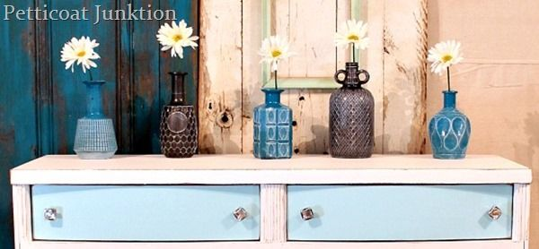 diy spray paint glass decanters, crafts, design d cor, Cute spray painted bottles dry brushed with white paint