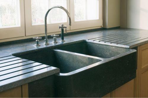 120x60cm Évier en pierre Granit pour cuisine 2 cuves + égouttoir